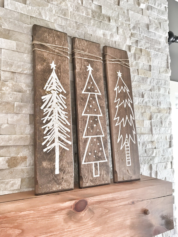 set of 3 rustic wooden christmas trees xmas wood tree decoration for holiday season christmas holiday gift and present rustic christmas - Rustic Wood Christmas Tree