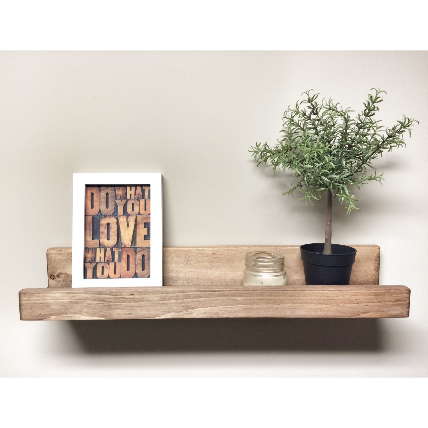 Inject Warmth Into Your Home With Reclaimed Wood Wall: Rustic Wooden Picture Ledge Shelf, Gallery Wall Shelf