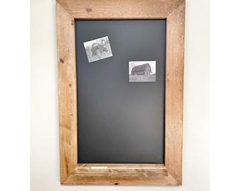 Rustic Wooden MAGNETIC CHALKBOARD,  Memo Board Frame, Farmhouse Bulletin Board, Decorative Framed Chalkboard, Distressed magnet chalkboard
