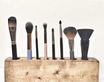 Cosmetic Makeup Organizer - Rustic Wood Countertop Organizer Brush Holder
