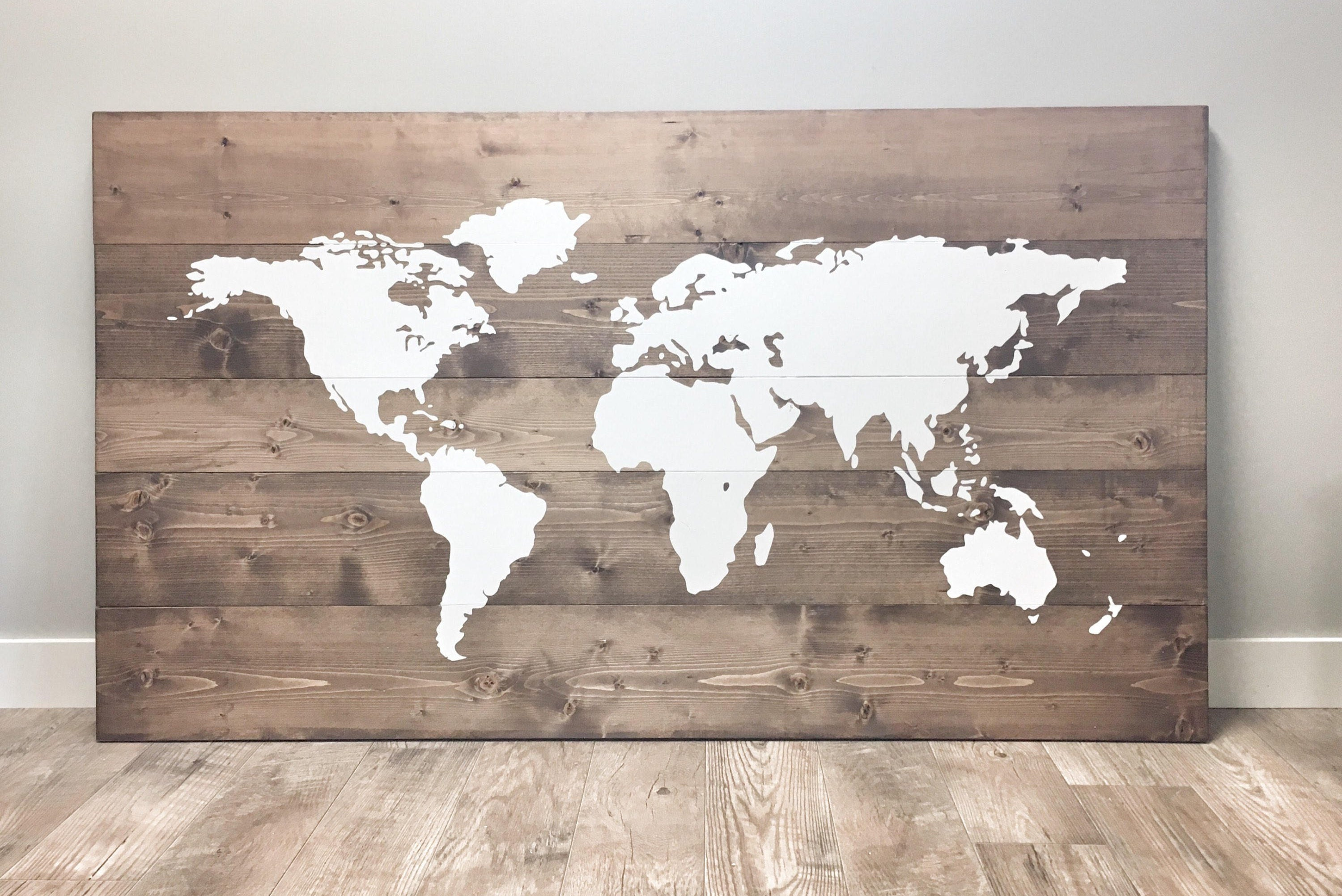 Huge Rustic World Map Made Of Wood For Traveller Rustic Wall Art