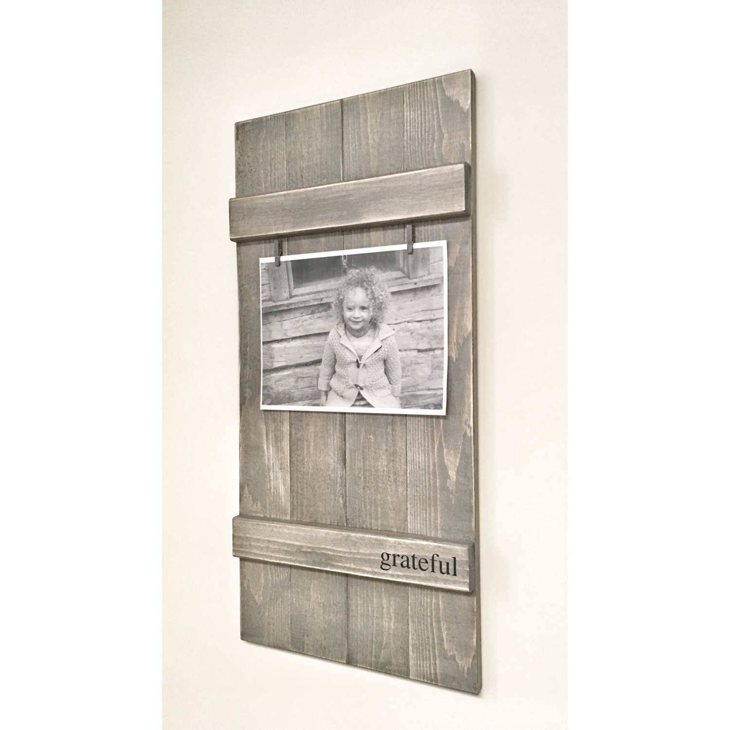 Rustic Wooden Picture Frame, Rustic Frame, Clothespin Picture Frame ...