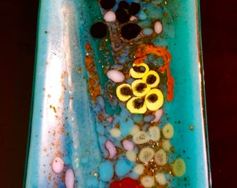 Turquoise art glass sushi plate.