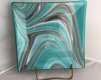 Fused art glass square plate