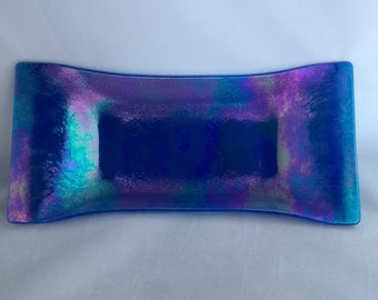 Iridescent fused glass oblong dish--blues, greens, and purples