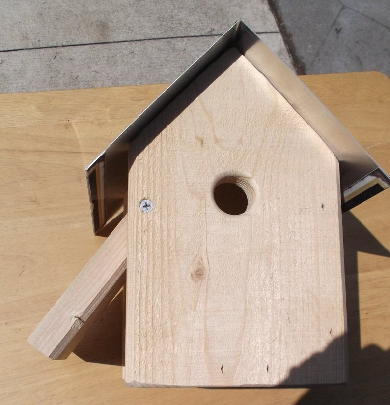 Saugatuck Michigan metal top birdhouse rough sawn wood box easy clean out wrens finches chickadees