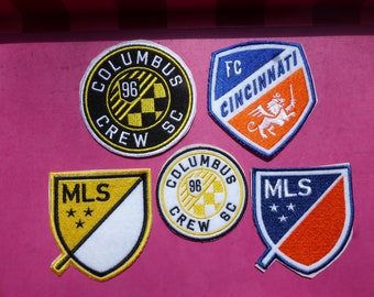 3ae0fc399 Embroidered Iron-On MLS Soccer Patches - FC Cincinnati and Columbus Crew -  Ohio Soccer Badge