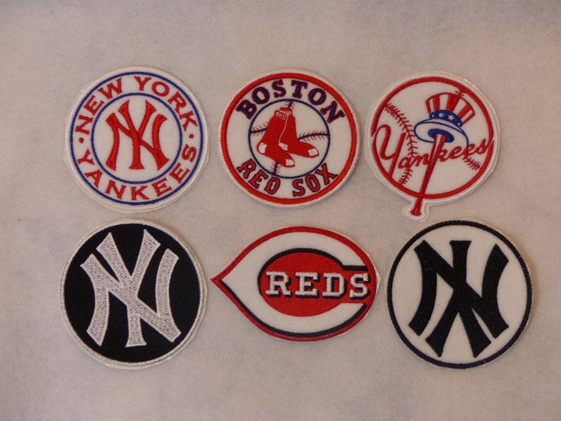 369ab14c22ba5 Iron on Patches: Baseball New York Yankees - Boston Red Sox - Cincinnati  Reds