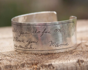 Handwriting etched in solid sterling silver handmade bracelet. This bracelet will be an original and never duplicated.