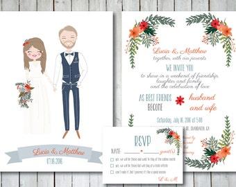 Custom Illustrated Wedding Invitation with RSVP card