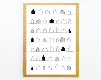 Poster house, Living room wall art, House illustration, Home print, Poster Scandinavian, Housewarming gift, Scandinavian print, Modern art