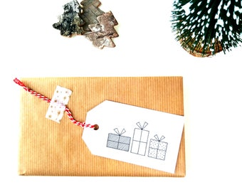 6 Christmas gift tags, Gift wrapping accessoires, Gift tags christmas, Xmas gift tags handmade, Gift tag with string, Simple gift card gifts