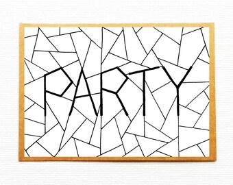 Party invitation, Birthday invite, Birthday card, Anniversary card, Party invite, Happy birthday party, Monochrome, Housewarming invitation