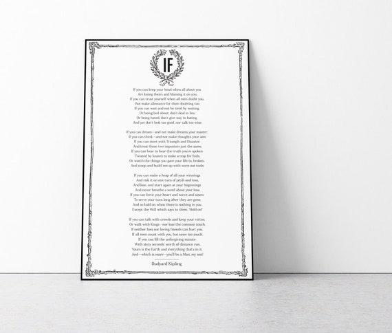 CHOOSE YOUR SIZE IF Poster Rudyard Kipling Great Poem FREE P+P Quality Large