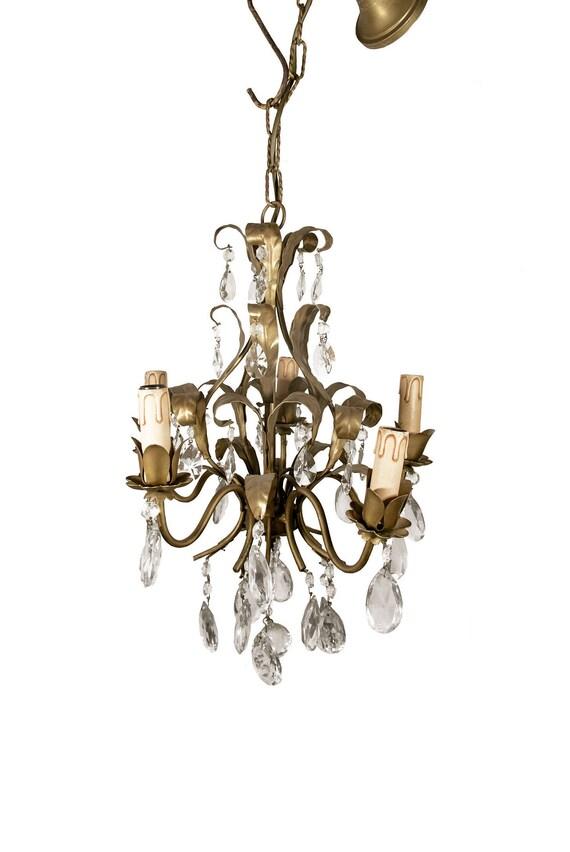 image 0 - Antique Tole Chandelier Vintage Ceiling Lamp Italian Etsy