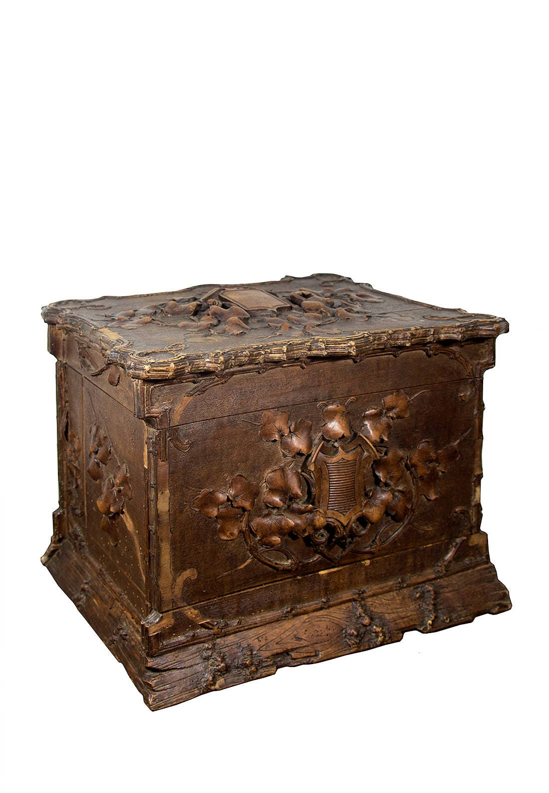 Antike Tantalus Box Schnaps Box Bar Schrank geschnitzt Holz