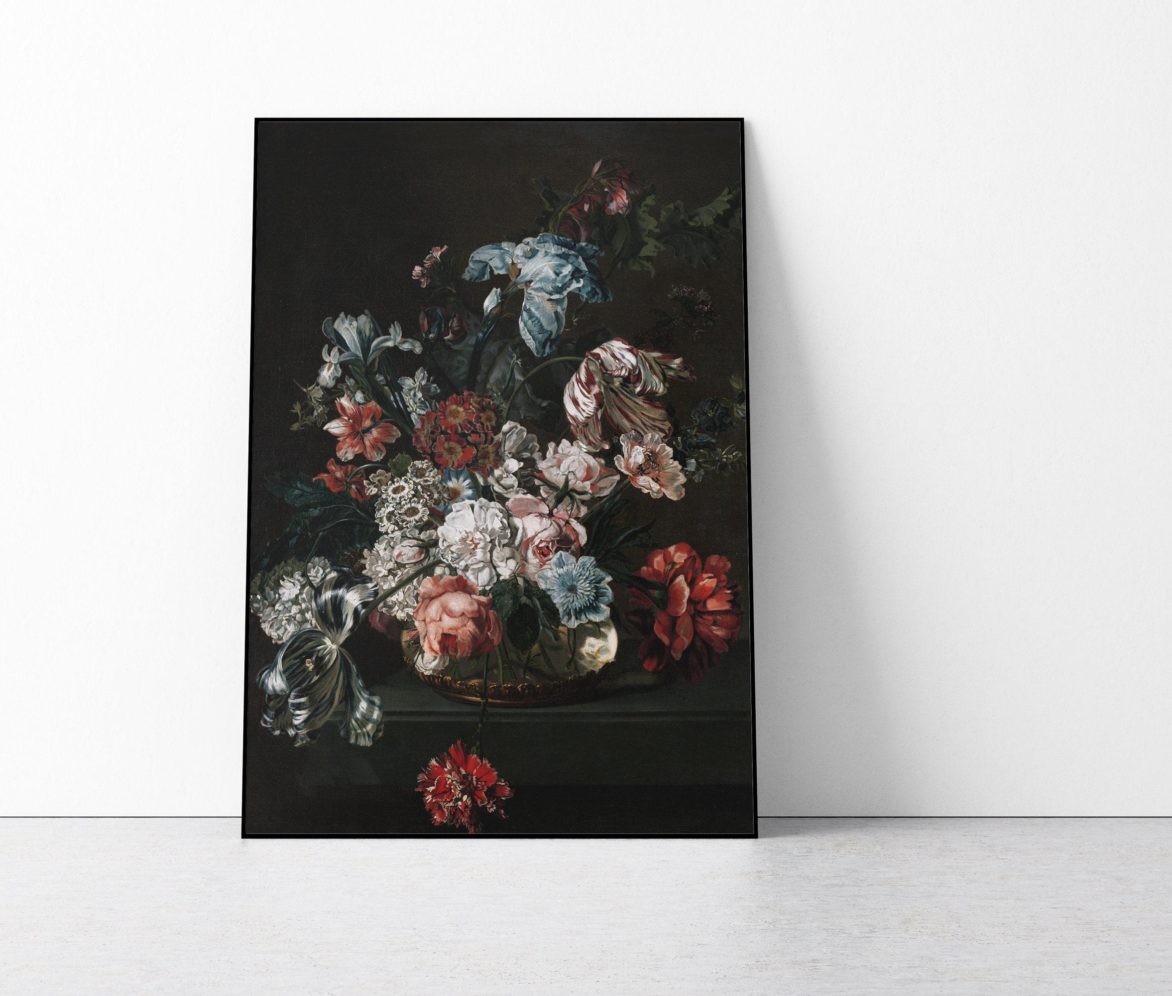 Dark Floral Art Print Dark Dutch Still Life With Flowers Etsy