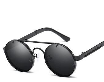 60b415c55418 Vintage Metal Frame Polarized Steampunk Round Sunglasses For Men Women  Driving Outdoor Eyewear