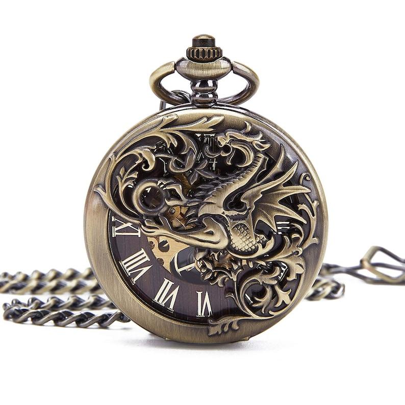 16b329881 Mens Skeleton Mechanical Hand Winding Pocket WatchVintage | Etsy