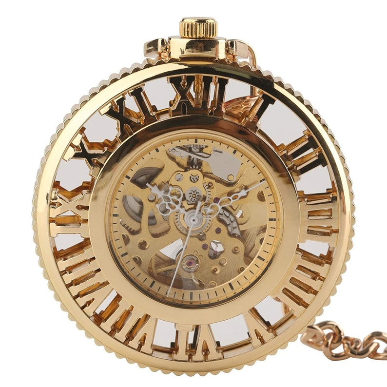 Uhren Vintage Gold Hohl Mechanische Taschenuhr Kette Retro Männer Einzigartige Steampunk Römische Zahl Skeleton Mechanische Taschenuhren