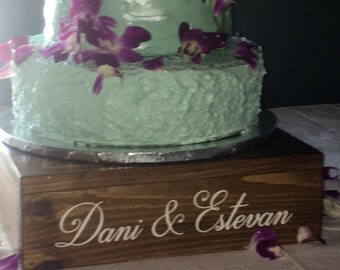 Personalized Rustic wedding cake stand, 14 x 14 cake stand/riser, custom wood cake stand, wooden wedding cake stand