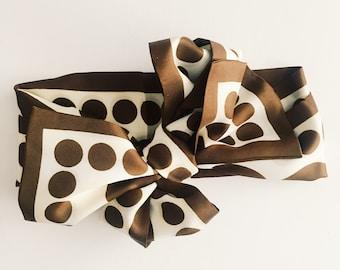 Vintage scarf [ brown polka dot ]