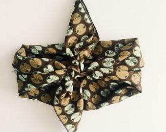 Vintage scarf [ brown + mint ]