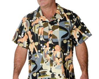 8f090caae Feak Shirt for Men Futuraella Print, Hawaiian Shirt, Hawaiian Shirt Men, Mens  Hawaiian Shirt, Tropical Floral Island Style Summer Surf Shirt