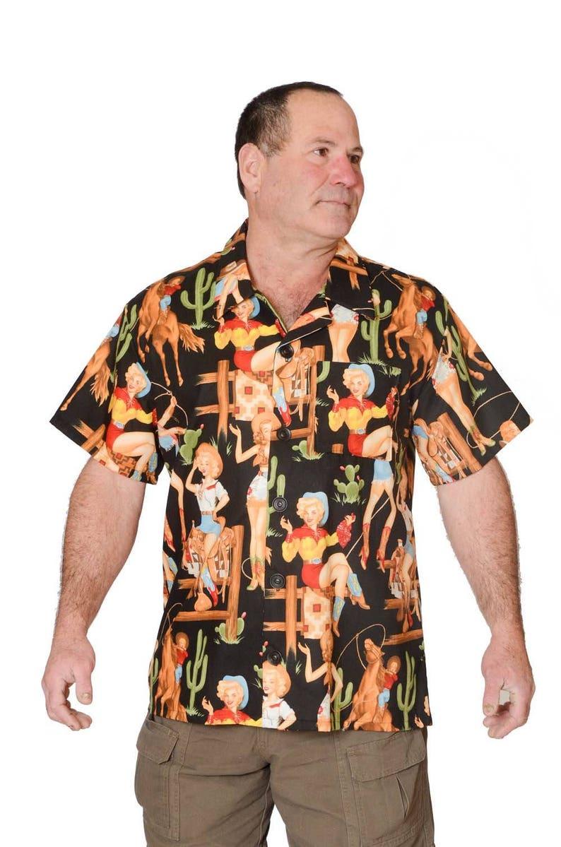 aa11556a Feak Shirt for Men Western Cowgirl Print Hawaiian Shirt | Etsy