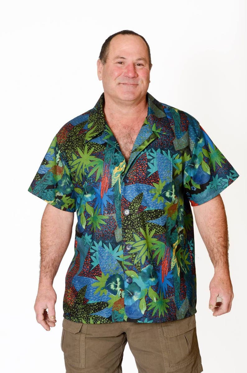 8ef6cb1a91ebc Feak Shirt for Men Tropical Rainforest Print Hawaiian Shirt | Etsy