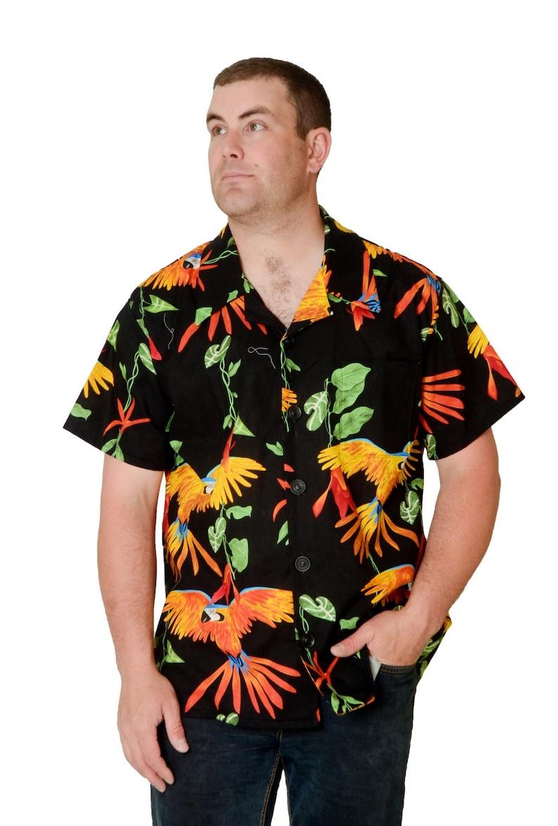 4cef57cd3de863 Feak Shirt for Men Exotic Parrot Print Hawaiian Shirt Exotic | Etsy