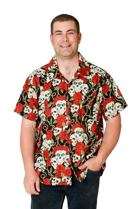 c3a275bb Feak Shirt for Men Skull and Roses Halloween Shirt Hawaiian | Etsy