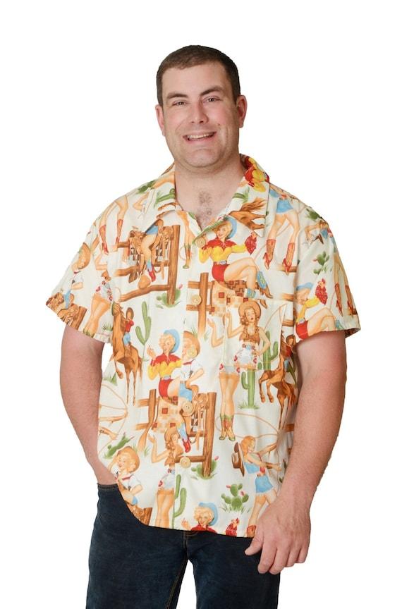 d97202fc2 Feak Shirt for Men Western Cowgirl Print Hawaiian Shirt