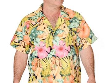 Feak Shirt for Men Tropical Forest Girl Print, Hawaiian Shirt, Forest Girl Shirt, Mens Hawaiian Shirt, Tropical Rainforest Shirt