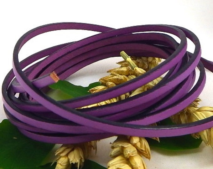 Flat mauve leather lilac 0,11 inches by 1 meter