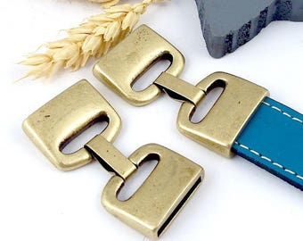 high quality 3 flat clip clasps bronze leather int 20mm