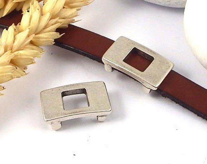 Interleave rectangle solid hollow silver plated 10mm leather