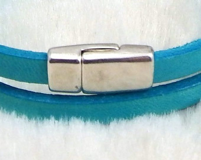 Silver small magnetic clasp for flat leather 5mm