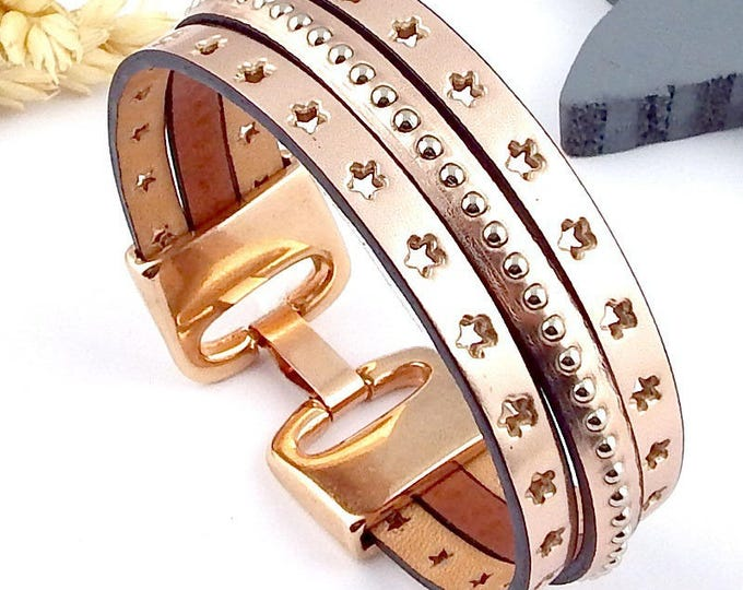 Rose gold metal leather bracelet tutorial Kit flashed clasp rose gold