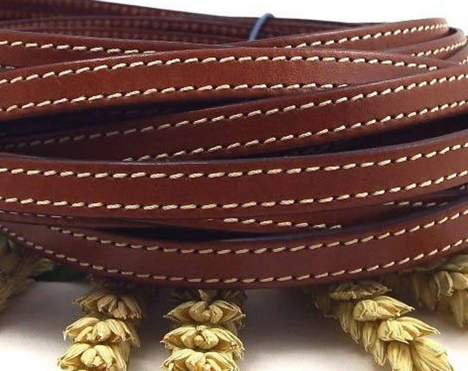 1 smetre flat leather 10mm brown seams cpc10mar