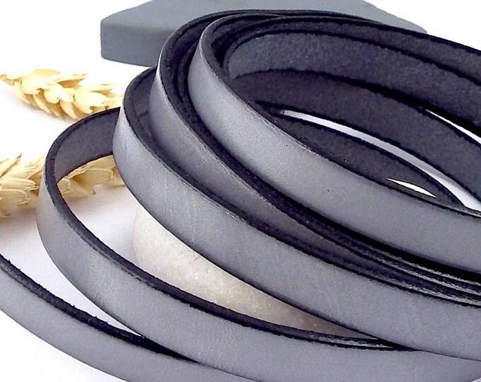 Vintage grey flat leather