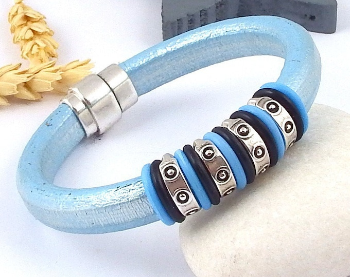Kit leather bracelet regaliz blue metal ethnic beads and silver plated clasp