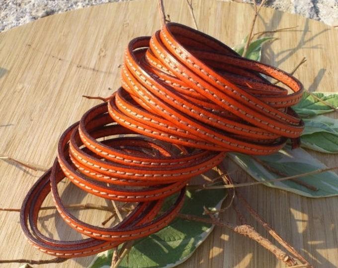 orange flat leather 5mm seam 20 cm