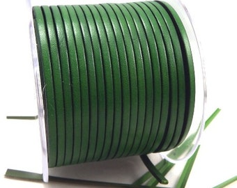 Leather flat green 3mm by 1 meter