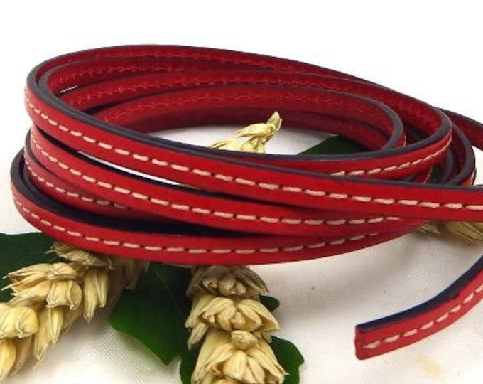 leather cord flat sewing Red 5mm by 20 cm