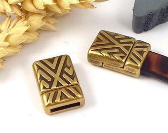 bronze geometric zamak magnetic clasp for flat leather 10mm
