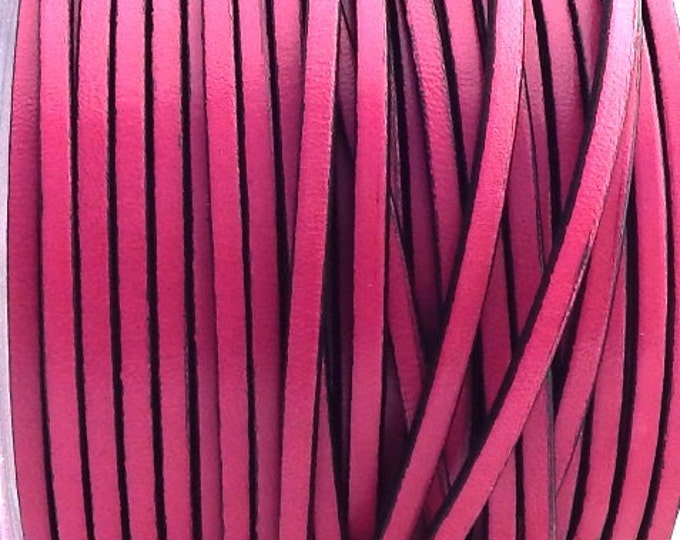 Leather fuchsia flat 3mm by 1 meter