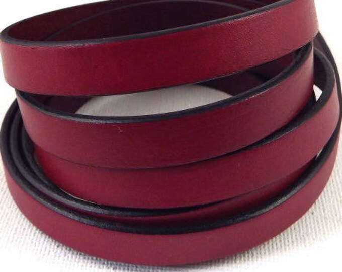 1 metre of high quality burgundy 10mm flat leather