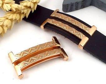 great Interleave ethnic boho flashed rose gold 20mm flat leather