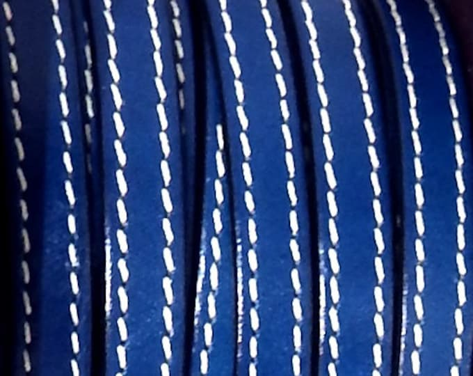 Blue flat leather with high quality seams 10mm per 1 metre (1.09 yard,3.28 feet)